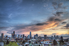 Seattle Downtown Skyline Sunset HDR