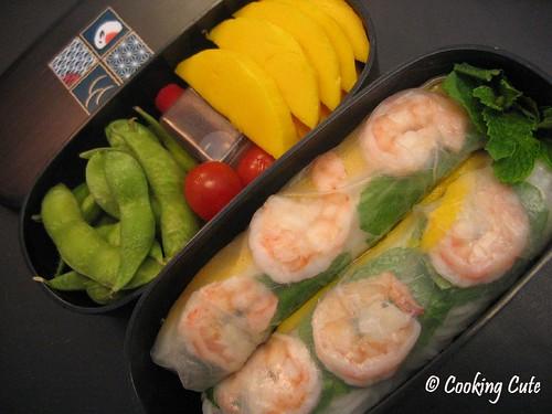 [mango shrimp summer rolls bento]