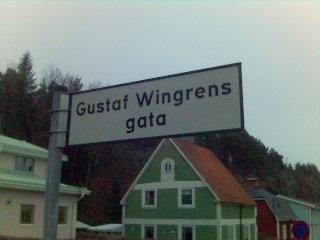 Gatuskylt 'Gustaf Wingrens gata'