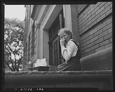 Girl Eating Lunch at Elmer Avenue School Schenectady June 1943