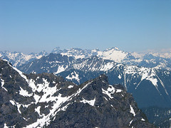 Sloan Peak, Columbia Peak, Monte Cristo Peak, And Kyes Peak From Baring Mtn (Merchant Peak In Foreground, Spire Mtn in Middleground)