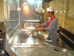 Sauteeing Mongolian BBQ on a Teppanyaki Grill