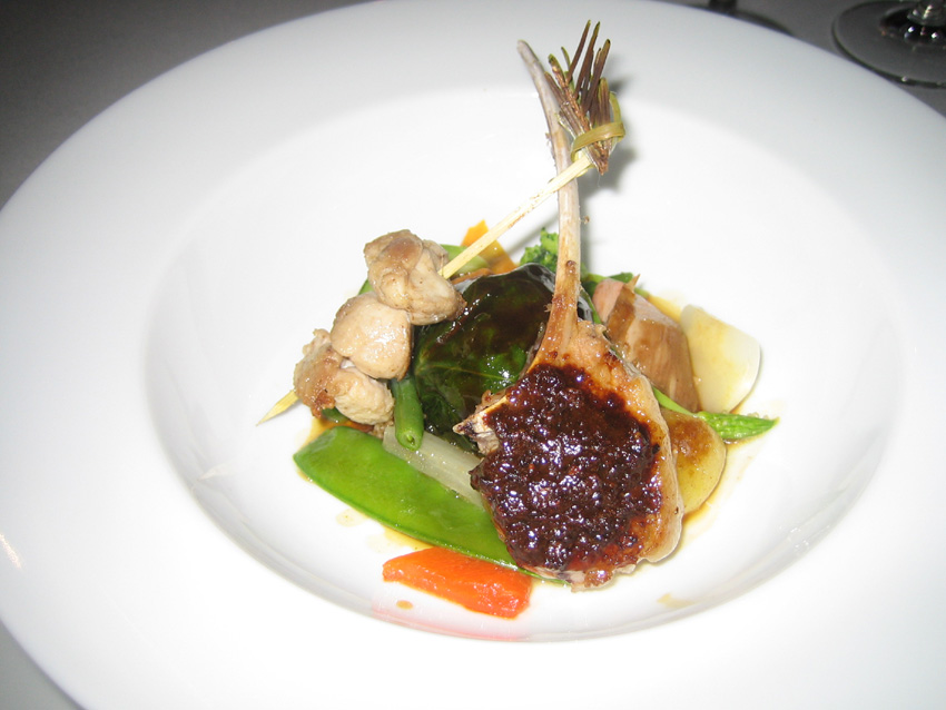 Regis Marcon - Lamb w/ Porcini Crust, Sweetbreads, Ball of Lamb & Assorted Vegetables