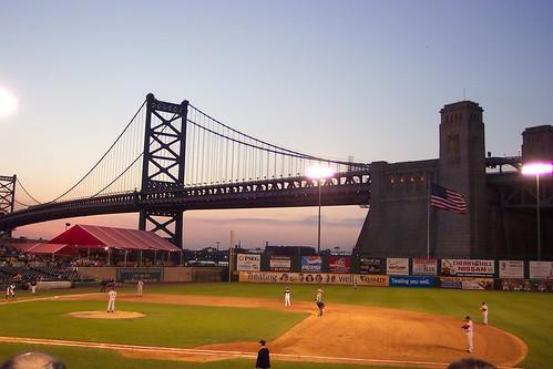 Riversharks Ben Franklin Bridge at dusk