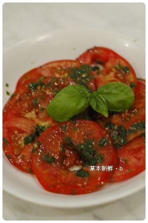 sweet basil with fresh tomato