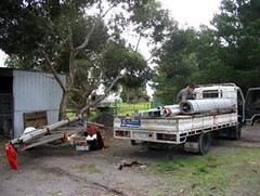 Shed on truck and trailer