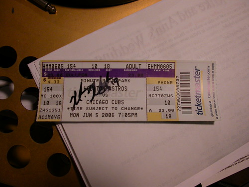 Matt Murton autographed ticket