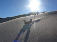 Tanya and Anne sand boarding