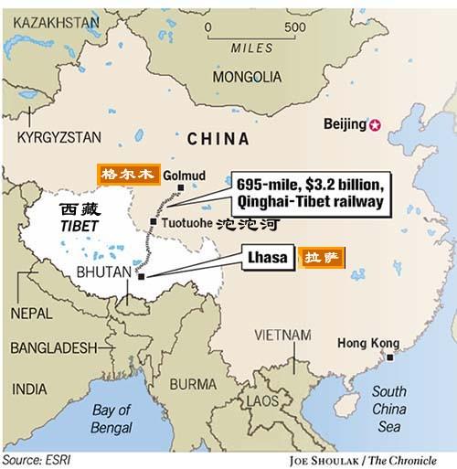 Tibet Train Map