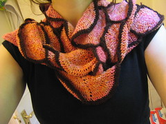 wearing crochet scarf - wrapped
