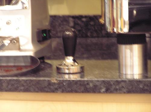 Blurry Pic of hand tamper, Caffe del Doge, Rialto