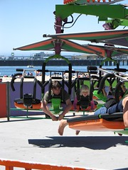 On a ride at Santa Cruz boardwalk