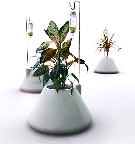 IV Plant Pot, Vitamin Living, self-watering plant, IV watering system, IV gardening, green design, botanical design