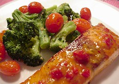 Salmon with Orange and Red Pepper Sauce