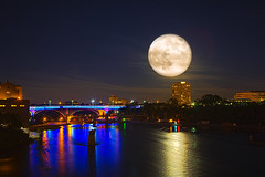 SUPER FULL MOON OVER 35W Bridge, Minneapolis Minnesota USA photo by Saibal K. Ghosh