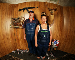 Merle and Mathilda Posing in the Den of their Mobile Home in Tuscumbia, Alabama photo by Studio d'Xavier