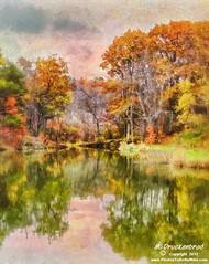 Shawnee Lake, Fall foliage, a digital painting photo by PhotosToArtByMike