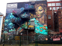 Streetart painted by Philth (left) and n4t4 (right), seen in the Manchester Northern Quarter, Manchester, UK    {Explore - 15/07/2014 - Highest Position 10} photo by Andy_Hartley