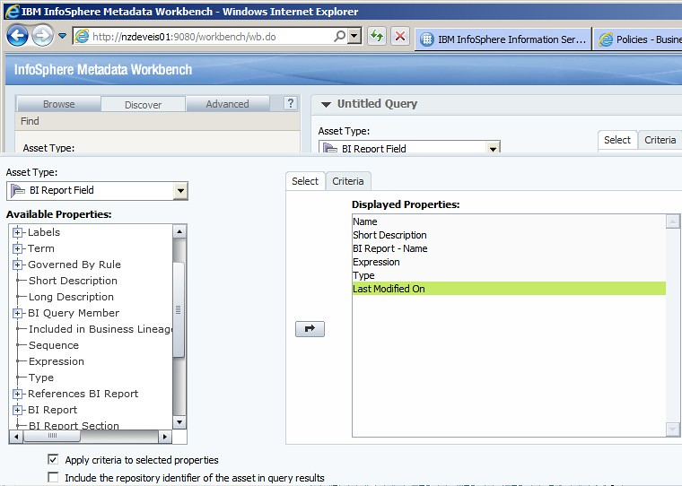 Metadata Workbench BI Query Builder