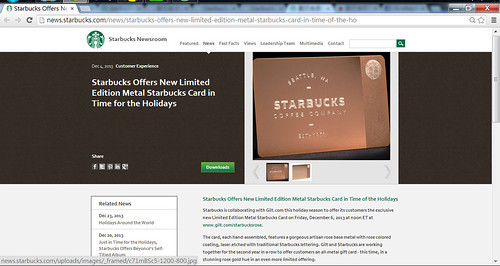 Starbucks Offers New Limited Edition Metal Starbucks Card in Time for the Holidays  Starbucks Newsroom - Google Chrome 20131230 下午 105344