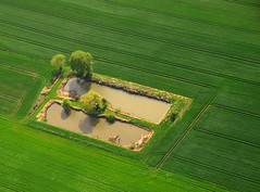 Ponds in magic green Spring Fields photo by Batikart