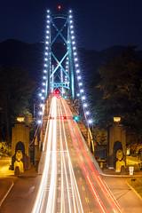 Lions Gate Bridge at Night Vancouver photo by Patrick Lundgren