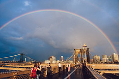 Rainbow seen from Brooklyn Bridge photo by Hermann Sabado