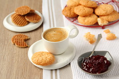 Cup of espresso with coconut cookies on a plate photo by Iryna Melnyk