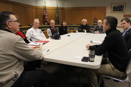 Rep. Hawkins chats with the Leavenworth City Council. Photo courtesy Leavenworth Echo