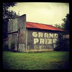 Grand Prize Beer ghost sign in Goliad, Texas photo by mollyblock