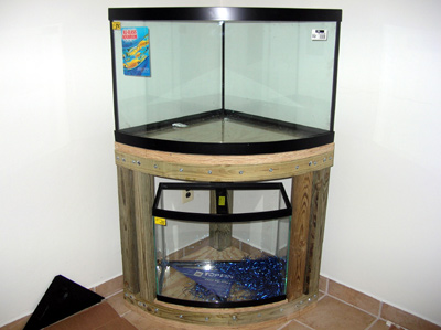 Diy 54 corner stand w 26 bow sump fuge reef central for 55 gallon corner fish tank
