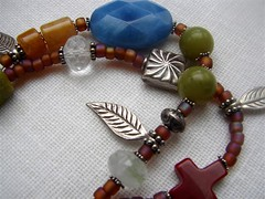Double Stranded Bracelet w/Hill Tribe Silver leaves and assorted semi-precious stones