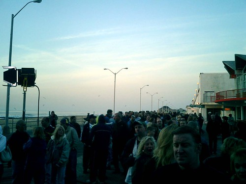 the line on the boardwalk