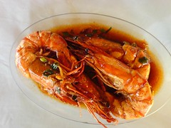 Prawns cooked in garlic sauce