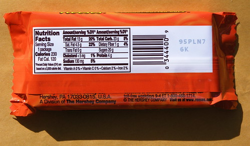 The nutrition facts about Reeses Peanut Butter Cups.