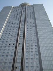 Yanggakdo Hotel, deze foto is overigens later genomen, toen we aankwamen was het donker
