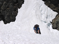 Randy Ascending Snow Wall Above Gully On Baring Mtn