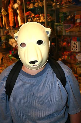 Q with polar bear mask