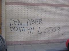 Slogan ar wal siop Bwise, Aberystwyth
