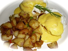 Eggs Benedict and Herb Potatoes