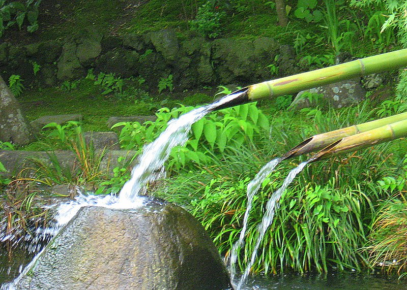 Bamboo water channels at Hase Temple in Kamakura