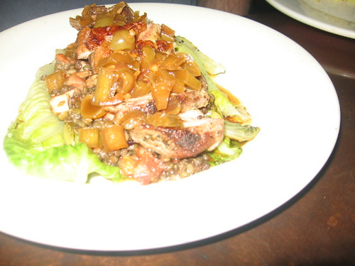 Seared Duck Breast over warm romaine & lentils with a grape-rhubarb chutney