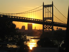 Sunset behind the Triboro Bridge