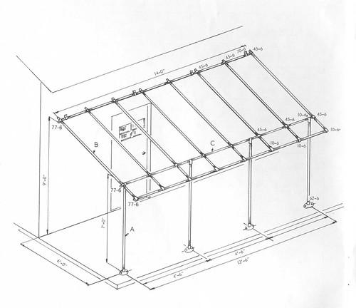 Vordachgestell aus Rohrverbindern