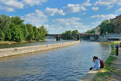 Prague / Kampa island : Sitting on the water's edge photo by Pantchoa