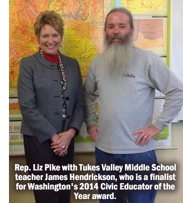 Rep. Liz Pike with teacher James Hendrickson