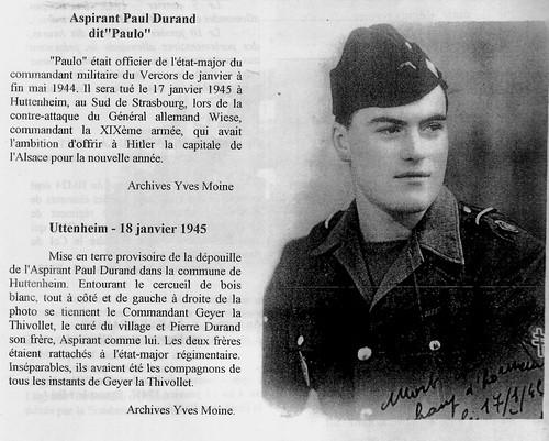 11e Cuirassiers - Alsace-1945 17 janvier -  Huttenheim- Mort de Paul Durand - Fonds Gérard Galland