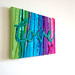 Ibiza - Love - A Mixed Media Textile Stitched Collage with the word Love in turquoise, Stretched on a Canvas Art Frame