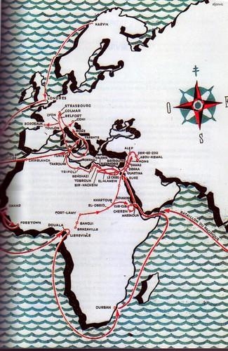 Cartographie générale du parcours de la Division Française Libre - blandine bongrand saint hillier