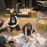 Sean Fortunato (Jorgen Tesman), Chaon Cross (Thea Elvsted), Scott Parkinson (Judge Brack) and Kate Fry (Hedda) in HEDDA GABLER at Writers Theatre.  Photo by Michael Brosilow.